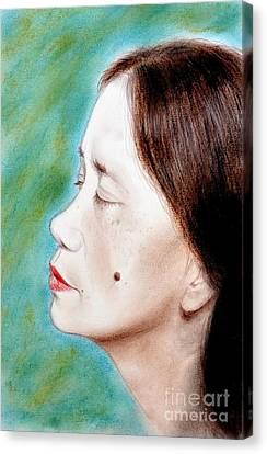 Profile Of A Filipina Beauty With A Mole On Her Cheek  Canvas Print by Jim Fitzpatrick