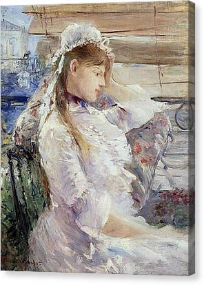Profile Of A Seated Young Woman Canvas Print by Berthe Morisot