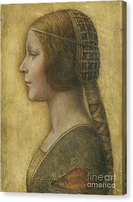 Profile Of A Young Fiancee Canvas Print by Leonardo Da Vinci
