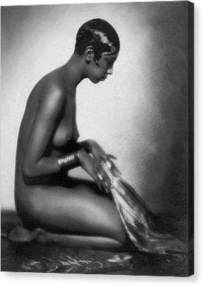 Profile Of Josephine Baker Canvas Print by Underwood Archives