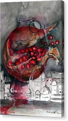 promegranate blooming in Jerusalem Canvas Print by Elani Van der Merwe
