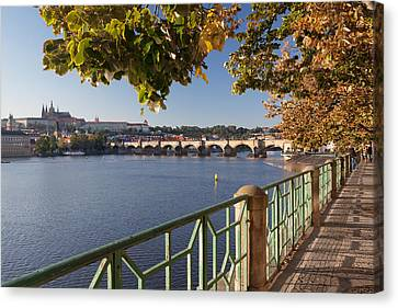 Promenade Along Vitava River Canvas Print by Panoramic Images