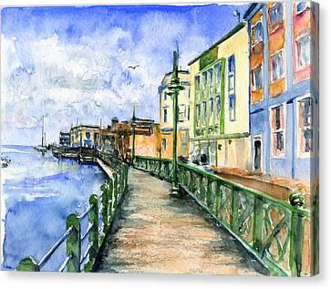 Promenade In Barbados Canvas Print by John D Benson
