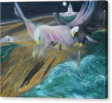 Prophetic Ms 36 Two Eagles Camel Through Eye Of Needle Parable Canvas Print by Anne Cameron Cutri