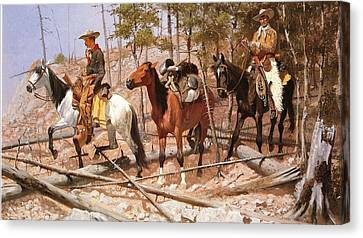 Prospecting For Cattle Range Canvas Print by Frederic Remington