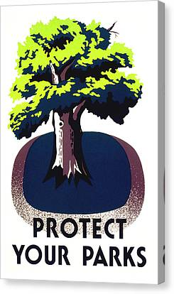 Protect Your Parks Wpa Canvas Print by War Is Hell Store