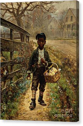 Protecting The Groceries Canvas Print by Edward Lamson Henry