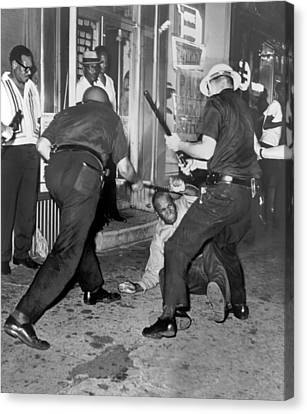 Protester Clubbed In Harlem Canvas Print by Underwood Archives