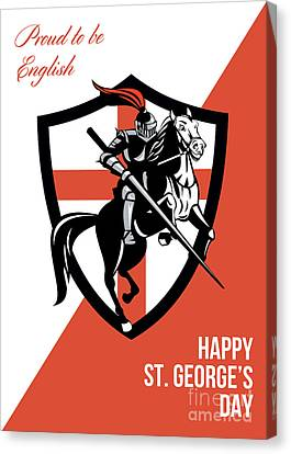 Proud To Be English Happy St George Day Retro Poster Canvas Print by Aloysius Patrimonio