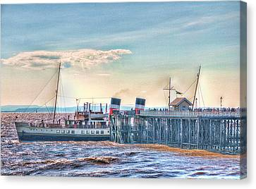 Ps Waverley At Penarth Pier Canvas Print by Steve Purnell