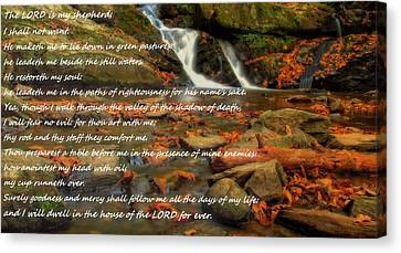 Psalm 23 Autumn Waterfall Canvas Print by Dan Sproul