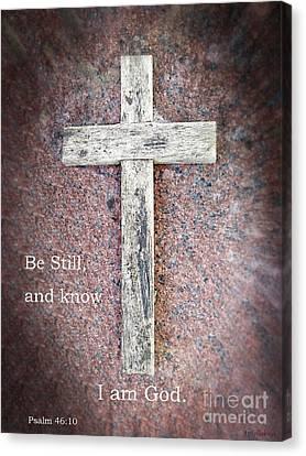 Psalm 46 - Miracle At The Cross Canvas Print by Ella Kaye Dickey