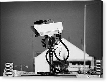 Psni Surveillance Land Rover Spy Camera On Crumlin Road At Ardoyne Shops Belfast 12th July Canvas Print by Joe Fox