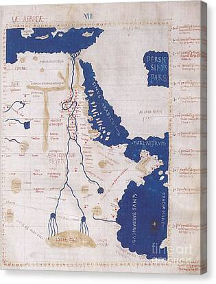 Ptolemys Map Of The Nile 2nd Century Canvas Print by Photo Researchers
