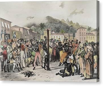 Public Punishments In The Place Ste Canvas Print by Johann Moritz Rugendas