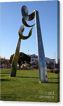 Public Sculpture At The San Francisco Pier 39 5d26147 Canvas Print by Wingsdomain Art and Photography