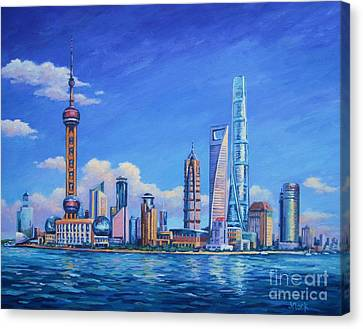 Pudong Skyline  Shanghai Canvas Print by John Clark