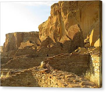 Pueblo Bonito And Cliff Canvas Print by Feva  Fotos