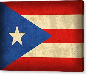 Puerto Rico Flag Vintage Distressed Finish Canvas Print by Design Turnpike