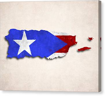 Puerto Rico Map Art With Flag Design Canvas Print by World Art Prints And Designs