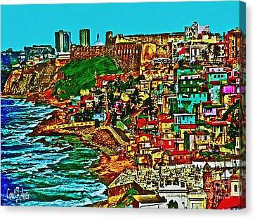 Puerto Rico Old San Juan Walled City Canvas Print by Carol F Austin