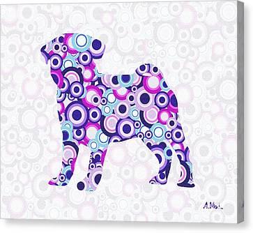 Pug - Animal Art Canvas Print by Anastasiya Malakhova