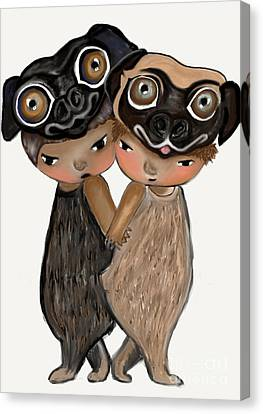 Pug Brothers Canvas Print by Beatrice Ajayi
