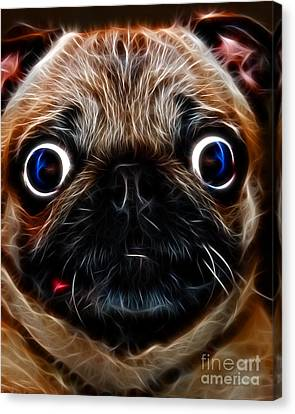 Pug Dog - Electric Canvas Print by Wingsdomain Art and Photography