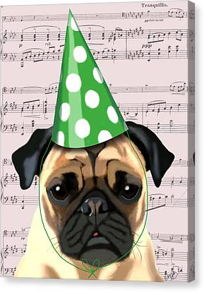 Pug In A Party Hat Canvas Print by Kelly McLaughlan