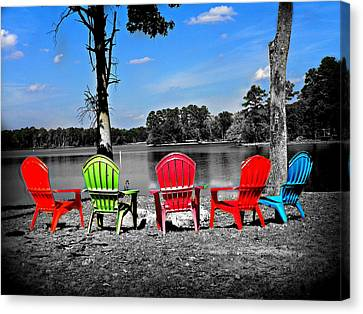 Pull Up A Chair Edited Canvas Print by Lisa Wooten