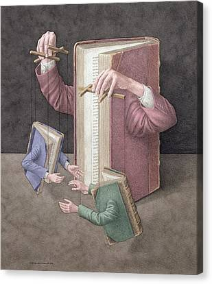 Pulling Strings, 2005 Wc On Paper Canvas Print by Jonathan Wolstenholme
