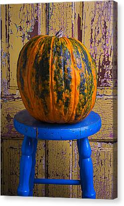 Pumpkin On Blue Stool Canvas Print by Garry Gay