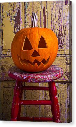 Pumpkin On Red Stool Canvas Print by Garry Gay