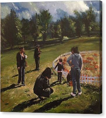 Pumpkin Picking Canvas Print by Victor SOTO