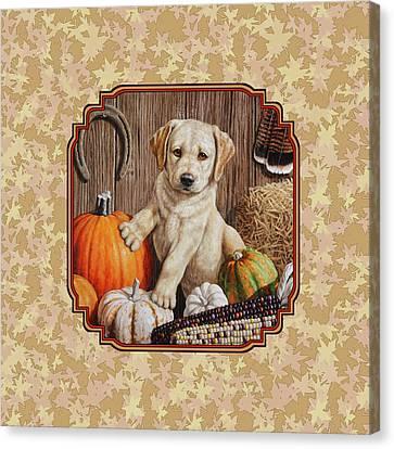 Pumpkin Puppy Leafy Background Canvas Print by Crista Forest