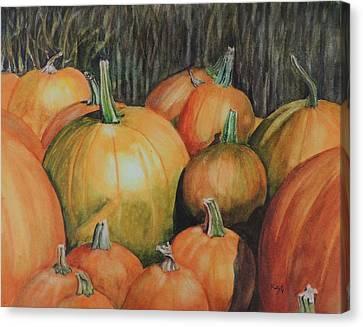 Pumpkin Wagon At The Farm Stand Canvas Print by Patty Kay Hall