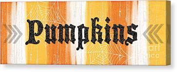 Pumpkins Sign Canvas Print by Linda Woods