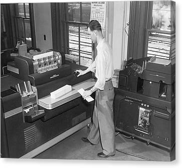 Punch Card Accounting Machines Canvas Print by Underwood Archives