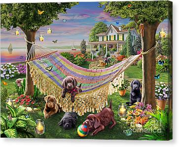 Puppies And Butterflies Canvas Print by Adrian Chesterman