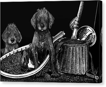Puppies Are Ready To Go Fish Canvas Print by Anderson R Moore