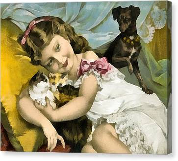 Puppies Kittens And Baby Girl Canvas Print by Vintage Trading Cards