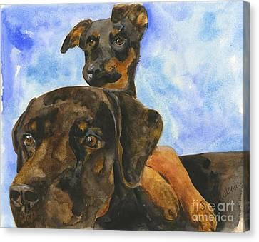 Puppy Pals Canvas Print by Sheryl Heatherly Hawkins