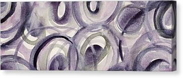 Purple And Green Circles Abstract Panoramic Painting Canvas Print by Beverly Brown Prints