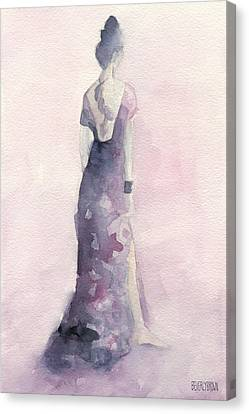 Purple And Pink Evening Dress Watecolor Fashion Illustration Canvas Print by Beverly Brown Prints