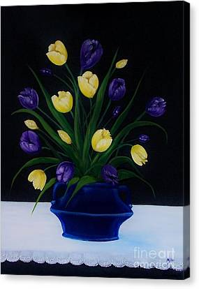 Purple And Yellow Tulips Canvas Print by Peggy Miller