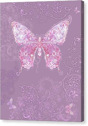 Purple Butterfly Floral Canvas Print by Alixandra Mullins