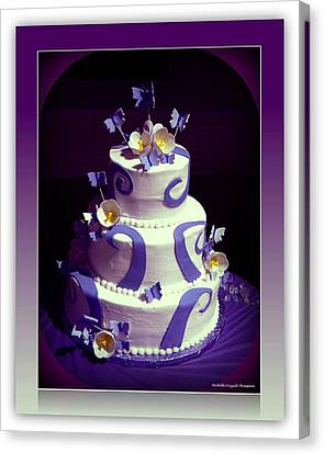 Purple Butterfly Wedding Cake Canvas Print by Michelle Frizzell-Thompson