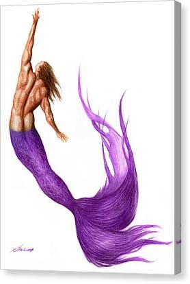 Purple Merman Canvas Print by Bruce Lennon