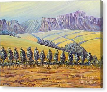 Purple Mountains Yellow Fields Canvas Print by Caroline Street