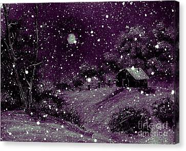 Purple Night Full Moon Canvas Print by Barbara Griffin